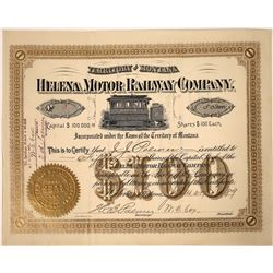Helena Motor Railway Company Stock - Very Early # 3  [123892]