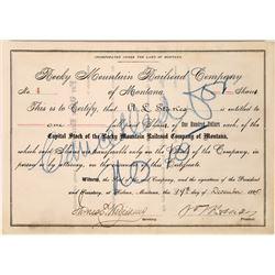 Rocky Mountain Railroad Company of Montana Stock, Number 4, 1885  [123899]
