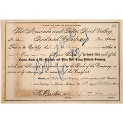 Missoula and Bitter Root Valley Railroad Company Stock signed by Samuel T Hauser  [123904]