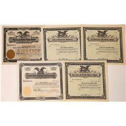 Five Unissued Montana Railroad Stock Certificates  [123916]