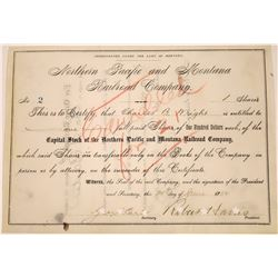 Northern Pacific and Montana Railroad Company Stock - signed by Robert Harris, president  [123917]