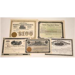 Remainder of Montana Railroad Stocks - Lot of Five  [123906]