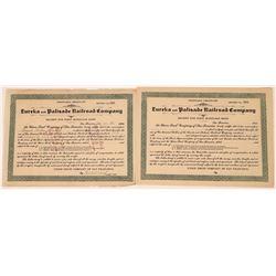 Eureka & Palisade Railroad Co -1st Mortgage Bond receipt  [129852]