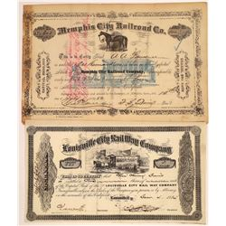 Southern Horse-Drawn Railroad Stock Certificates  [113997]