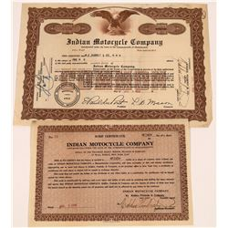 Indian Motorcycle Company Stock and Scrip Certificate (2)  [127696]