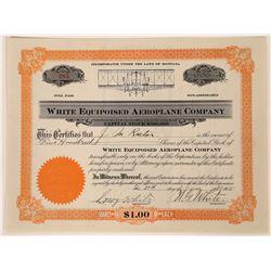 White Equipoised Aeroplane Company Stock Certificate  [129644]