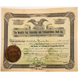 Columbian Expo Tourism Stock Certificate, Chicago, 1890's  [131082]