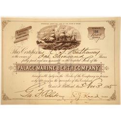 Palace Marine Berth Company, Rare Steamer Certificate, 1885  [131085]
