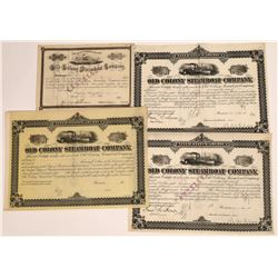 Old Colony Steamboat Company Stocks and Bonds, 1880's (4)  [128613]