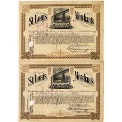 St. Louis Merchant's Bridge Company Stock Certificates (2)  [128580]