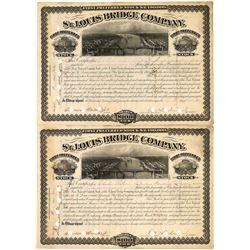 Two St. Louis Bridge Company Stock Certificates, 1879  [128576]