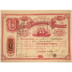 Union Navigation Co of New York Stock, 1867 With Clipper Ship Vignette  [131011]