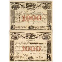 Orinoco Steam Navigation of New York, $1000 Bonds dated 1851 and 1855  [128581]