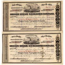 Oregon Steam Navigation Company Stocks, 1874 (2)  [128585]