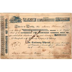 Hatborough and Warminster Turnpike Road Co. Stock Certificate  [127397]