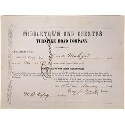 Middletown PA. Road Company Stock Certificate  [127392]