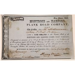 Early Pennsylvania Road Company Stock Certificate  [127389]