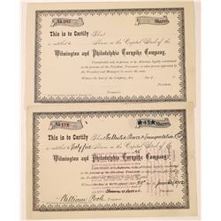 Wilmington & Philly Turnpike Co. Stock Certificates (2)  [127417]