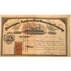 Philadelphia Southern Mail Steamship Co. Stock, 1867  [131084]