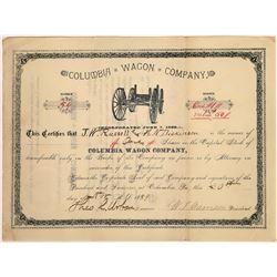 Columbia Wagon Company Stock Certificate, Pennsylvania, 1889  [128799]