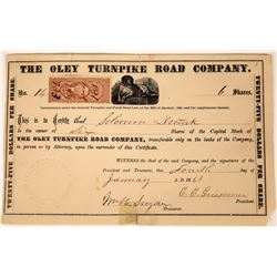 Oley Turnpike Road Company Stock Certificate  [127351]