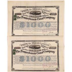Pennsylvania Canal Company Bond Certificates, 1870 (2)  [128617]