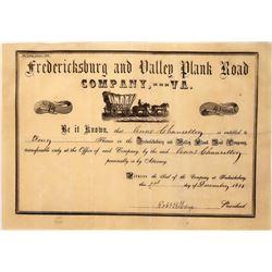 Pre-Civil War Plank Road Stock Certificate  [127407]