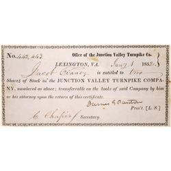 1852 Virginia Turnpike Company Stock Certificate  [127387]