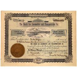 """Ice Transportation Burch """"Ice Locomotive"""" Stock Certificate (1)  [127741]"""