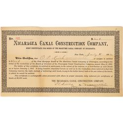 Nicaragua Canal Construction Company Certificate, 1892  [128588]