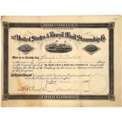 United States & Brazil Mail Steamship Company Stock, 1883  [128571]