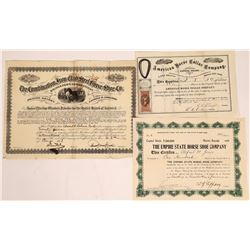 Horse Shoe and Horse Collar Companies Stock Certificates (3)  [127749]