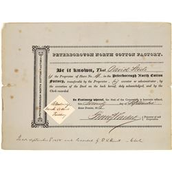 Peterborough North Cotton Factory Stock Certificate [127356]