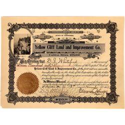 Yellow Cliff Land & Improvement Stock Certificate  [131393]