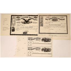 Sea Island Cotton Company Stock Certificates/Checks (3)  [127349]