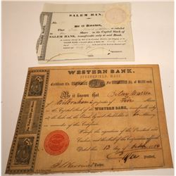 Two Very Early Massachusetts Banking Stock Certificates  [107919]