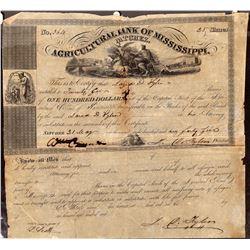 Agricultural Bank of Mississippi, Natchez, Stock Certificate, 1845  [128811]