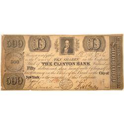 Clinton Bank Stock Certificate  [107924]