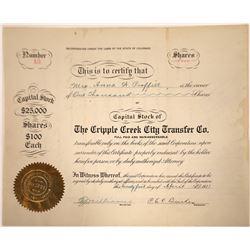 Cripple Creek City Transfer Company Stock Certificate  [107920]