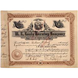 M.K. Goetz Brewing Company Stock #2, Issued to William Goetz, Rare  [118538]