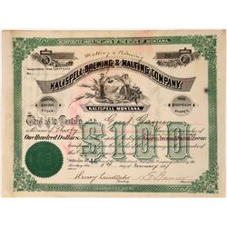 Kalispell Malting & Brewing Company Certificate, Early number 10 issued to president, 1897  [123855]