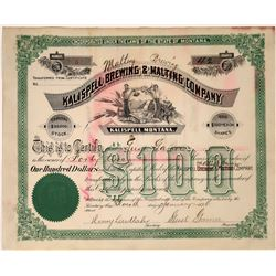 Kalispell Malting & Brewing Company Certificate, Early number 5 issued to president, 1896  [123856]