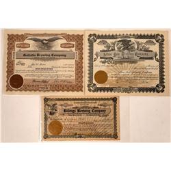 Montana Brewing Stock Certificate Trio  [129627]