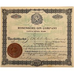 Rosenberg Gin Company Stock Certificate, Rare, 1910  [128794]