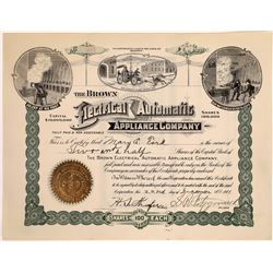 The Brown Electrical Automatic Appliance Stock Certificate  [127742]