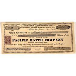Yosemite Area Match Company Stock Certificate  [127412]
