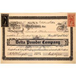 Delta Powder Company Stock Certificate (Explosives)  [127000]