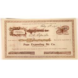 Pope Expanding Bit Company 1912 Stock Certificate  [127422]