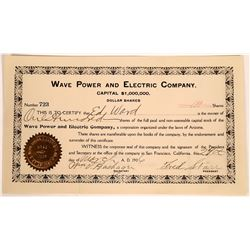 Wave Power and Electric Company Stock, San Francisco, 1906  [128774]