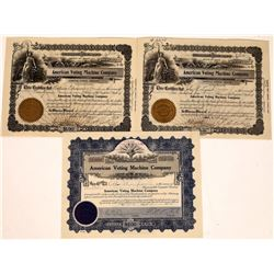 American Voting Machine Company Stock Certificates (3)  [127746]